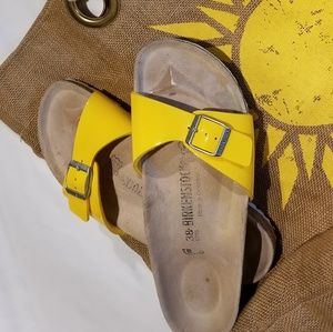 Yellow Patent Birkenstocks Size 38 (8)